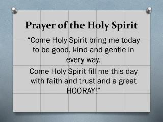 Prayer of the Holy Spirit