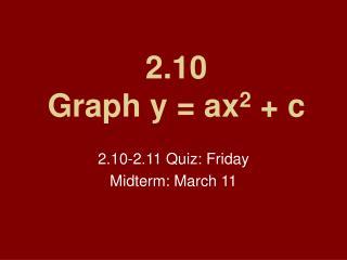 2.10 Graph y = ax 2 + c