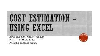 Cost estimation - Using excel