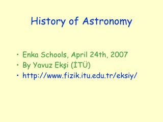 History of Astronomy