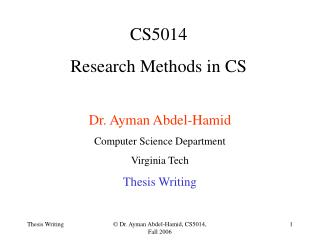 CS5014 Research Methods in CS
