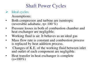 Shaft Power Cycles