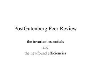 PostGutenberg Peer Review
