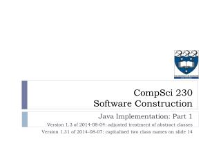 Java Implementation: Part 1 Version 1.3 of 2014-08-04: adjusted treatment of abstract  classes