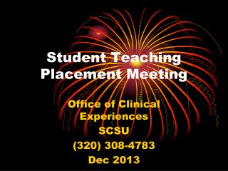 Student Teaching Placement Meeting