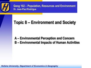 Topic 8 – Environment and Society