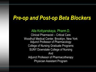 Pre-op and Post-op Beta Blockers