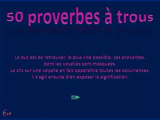 50 proverbes à trous