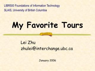 My Favorite Tours
