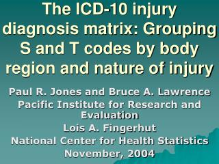 The ICD-10 injury diagnosis matrix: Grouping S and T codes by body region and nature of injury