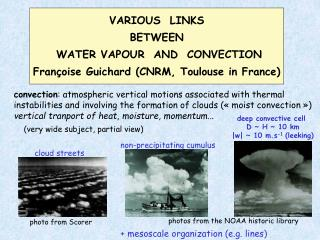 VARIOUS  LINKS BETWEEN  WATER VAPOUR  AND  CONVECTION