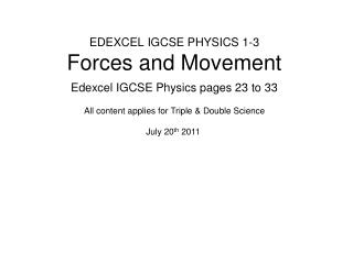 EDEXCEL IGCSE PHYSICS 1-3 Forces and Movement