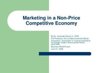 Marketing in a Non-Price Competitive Economy