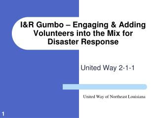 I&R Gumbo – Engaging & Adding Volunteers into the Mix for Disaster Response