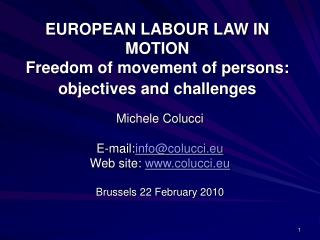 EUROPEAN LABOUR LAW IN MOTION  Freedom of movement of persons: objectives and challenges