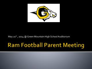 Ram Football Parent Meeting