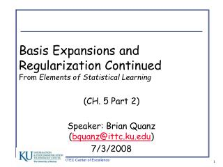 Basis Expansions and Regularization Continued From  Elements of Statistical Learning