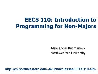 EECS 110: Introduction to Programming for Non-Majors