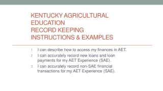 Kentucky Agricultural Education Record Keeping Instructions & Examples