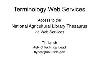 Terminology Web Services