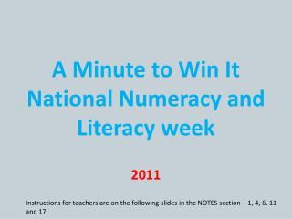A Minute to Win It National Numeracy and Literacy week
