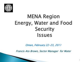 MENA Region  Energy, Water and Food Security  Issues