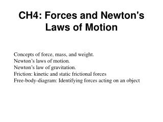 CH4: Forces  and Newton's Laws of Motion