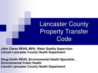 Lancaster County Property Transfer Code