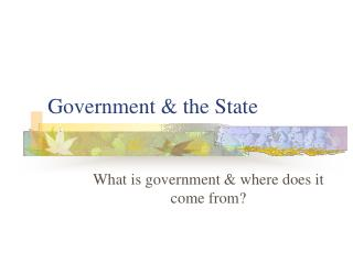Government & the State