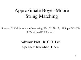 Approximate Boyer-Moore String Matching