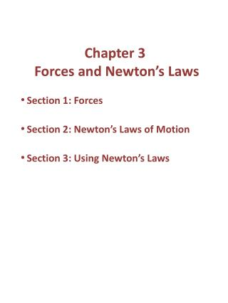 Chapter 3  Forces and Newton's Laws
