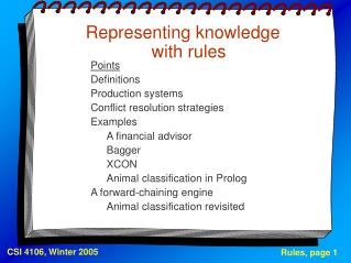 Representing knowledge with rules