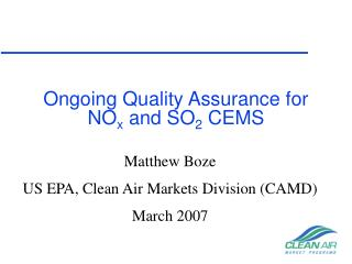Ongoing Quality Assurance for NO x  and SO 2  CEMS