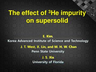 The effect of  3 He impurity  on supersolid