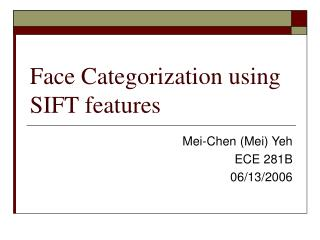 Face Categorization using SIFT features