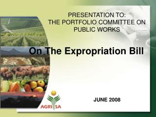 PRESENTATION TO: THE PORTFOLIO COMMITTEE ON  PUBLIC WORKS