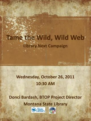 Tame the Wild, Wild Web Library.Next Campaign