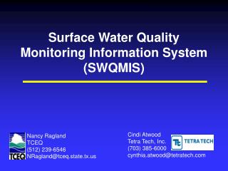 Surface Water Quality Monitoring Information System (SWQMIS)
