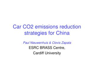 Car CO2 emissions reduction strategies for China