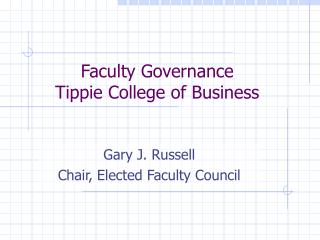 Faculty Governance  Tippie College of Business