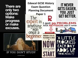 Edexcel GCSE History Exam Question Planning Document Paper 1