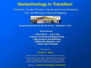 Presentation by Joseph K. Berry