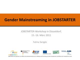 Gender Mainstreaming in JOBSTARTER