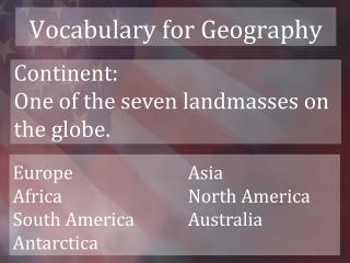 Vocabulary for Geography