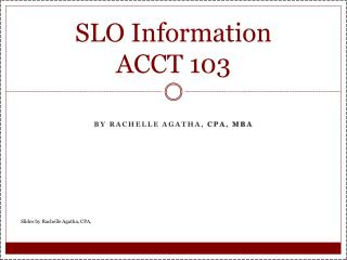 SLO Information  ACCT  103