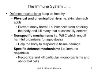 The Immune System  (rev 11/11)