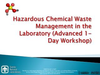 Hazardous Chemical  Waste Management in  the  Laboratory (Advanced  1-Day Workshop)