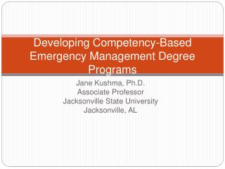 Developing Competency-Based Emergency Management Degree Programs