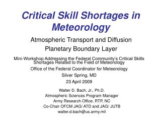 Critical Skill Shortages in Meteorology