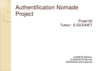 Authentification Nomade Project